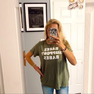 Babes Support Babes green tee